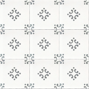 Floral pattern white / grey concrete tile - Handmade Tiles // Margate