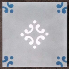 floral grey / white / blue concrete tile - Handmade Tiles // Margate