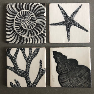 hand crafted and painted earthenware seaweed tile - Fiona Stewart for Margate Tile Makers