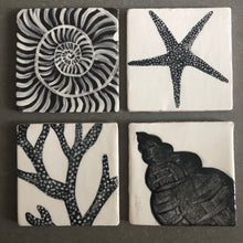 hand crafted and painted earthenware shell tile - Fiona Stewart for Margate Tile Makers