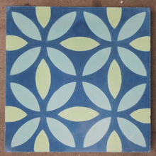 floral pattern blue / green concrete tile - Handmade Tiles // Margate