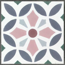 floral pattern multi-colour concrete tile - Handmade Tiles // Margate