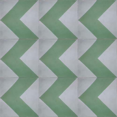 geometric green / light grey concrete tile - Handmade Tiles // Margate