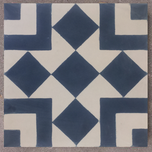geometric blue / off white concrete tile - Handmade Tiles // Margate