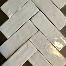 Bejemat / herringbone glazed terracotta tile (5x15cm) in no.2 off white colour - IN STOCK