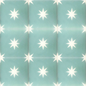 turquoise / white star concrete tile - Handmade Tiles // Margate