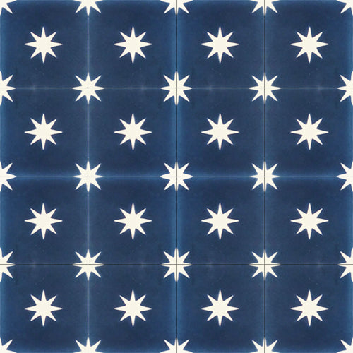 dark blue star pattern concrete tile - Handmade Tiles // Margate