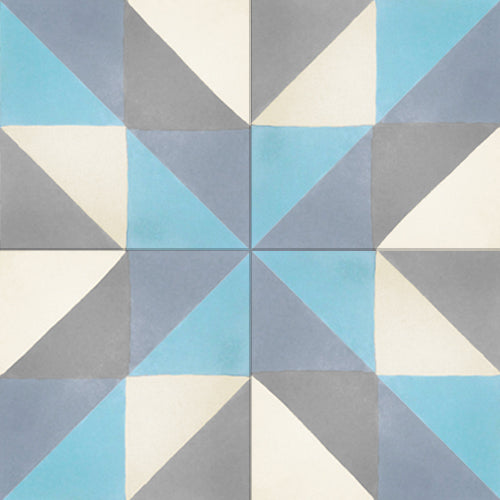 geometric multi-colour concrete tile - Handmade Tiles // Margate