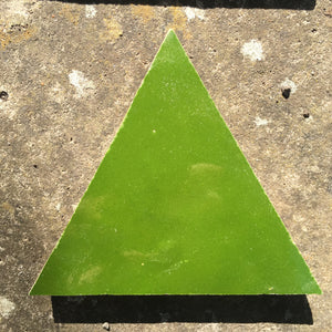 multi green triangle glazed terracotta tile - Handmade Tiles // Margate