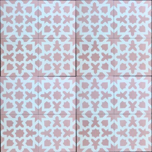 traditional pattern pink / white concrete tile - Handmade Tiles // Margate