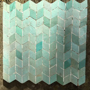 multi aqua coloured glazed terracotta plaque - Handmade Tiles // Margate