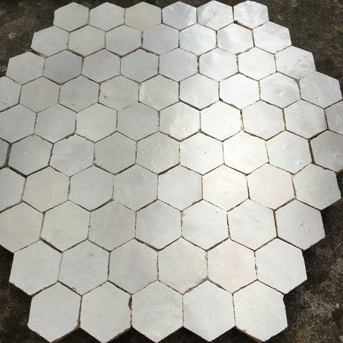 hexagonal glazed terracotta plaque - Handmade Tiles // Margate