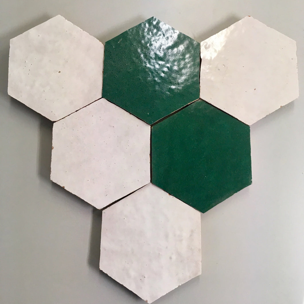 hexagonal glazed terracotta tile (12.2x14cm) - Handmade Tiles // Margate
