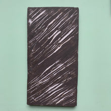 black stoneware clay tile with lined porcelain finish - Claire de Lune for Margate Tile Makers - Handmade Tiles // Margate