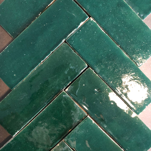 Bejemat / herringbone glazed terracotta tile (5x15cm) in no.14 dark green colour - IN STOCK