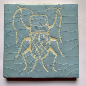 blue and antique white crackle glaze hand-etched bug earthenware ceramic tile - Ema Dennis for Margate Tile Makers - Handmade Tiles // Margate