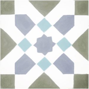 geometric grey / white / blue concrete tile - Handmade Tiles // Margate