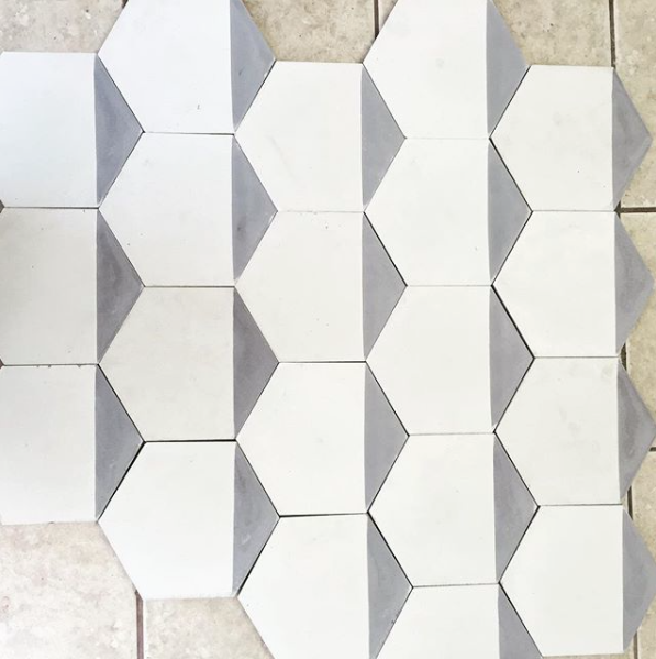 ... contemporary grey / off white hexagonal concrete tile - Handmade Tiles // Margate ...
