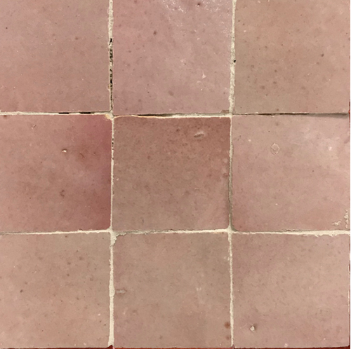 no.9 tea rose pink glazed terracotta tile - IN STOCK - Handmade Tiles // Margate
