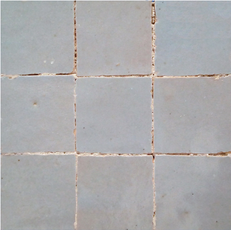 no.22 lightest blue / grey glazed terracotta tile - IN STOCK - Handmade Tiles // Margate