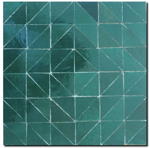 geometric glazed terracotta plaque - Handmade Tiles // Margate