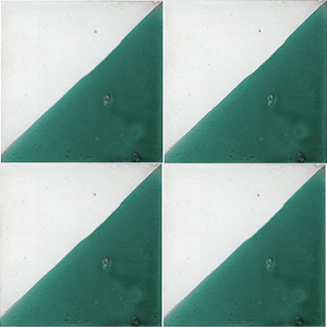 split colour white / green glazed terracotta tile - Handmade Tiles // Margate