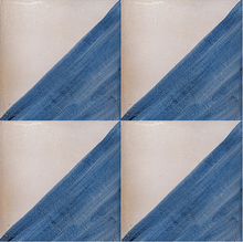 split colour white / blue glazed terracotta tile - Handmade Tiles // Margate