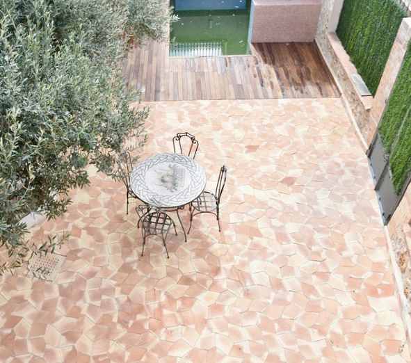 natural terracotta pentagon tile - IN STOCK - Handmade Tiles // Margate