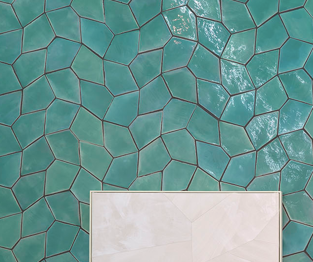 glazed terracotta pentagon tile - Handmade Tiles // Margate