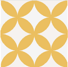 floral pattern yellow / white concrete tile - Handmade Tiles // Margate