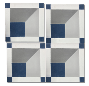 geometric blue / grey / white concrete tile - Handmade Tiles // Margate