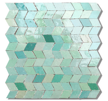 multi aqua coloured glazed terracotta panel - IN STOCK - Handmade Tiles // Margate