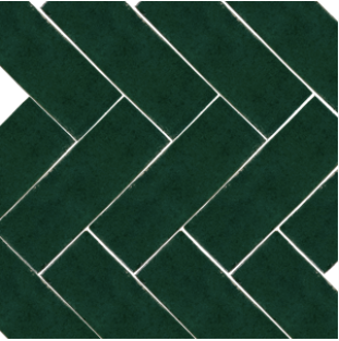 Bejemat / herringbone glazed terracotta tile (5x15cm) in no.14 dark green colour - IN STOCK - Handmade Tiles // Margate