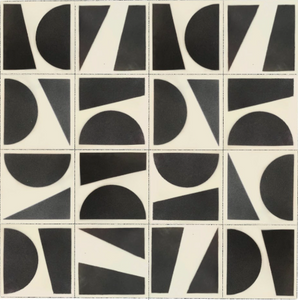 hand-stencilled geometric pattern charcoal / white stoneware tile