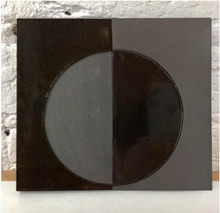 natural matte & high gloss glaze black clay tile - inlaid with reverse circle // Margate Tile Works