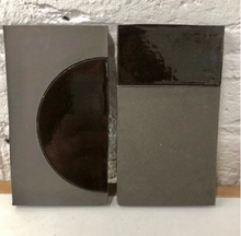 natural matte & high gloss glaze black clay tile - inlaid with line // Margate Tile Works