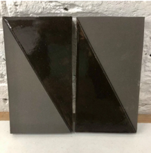 natural matte & high gloss glaze black clay tile - inlaid with reverse diagonal // Margate Tile Works