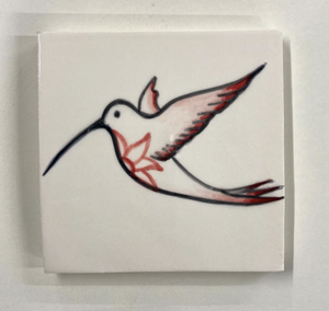 Handcrafted and painted earthenware hummingbird glaze tile - Margate Tile Works