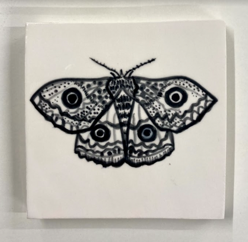 Handcrafted and painted earthenware emperor moth glaze tile - Margate Tile Works