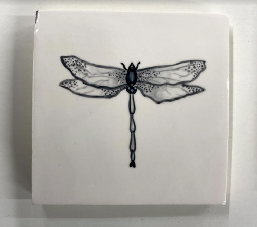 Handcrafted and painted earthenware dragonfly glaze tile - Margate Tile Works