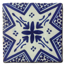 blue and white hand-painted glazed terracotta tile - Handmade Tiles // Margate