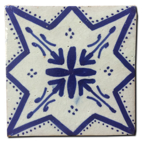 blue & white hand-painted glazed terracotta tile - Handmade Tiles // Margate