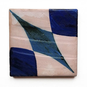 hand-stencilled blue / white glazed terracotta tile - Handmade Tiles // Margate