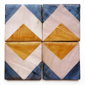 hand-stencilled chevron blue / marigold glazed terracotta tile - Handmade Tiles // Margate