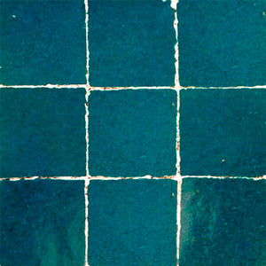 no.18 teal colour glazed terracotta tile - IN STOCK - Handmade Tiles // Margate