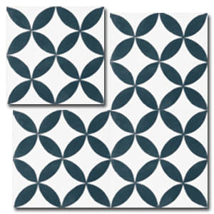 floral pattern black / white concrete tile - Handmade Tiles // Margate