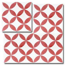 floral pattern white / red concrete tile - Handmade Tiles // Margate
