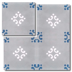 traditional pattern grey / blue / white concrete tile - Handmade Tiles // Margate