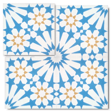 traditional blue / white / yellow concrete tile - Handmade Tiles // Margate