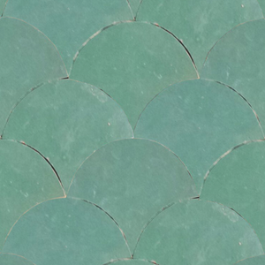 aqua green / blue fish scale tile - Handmade Tiles // Margate